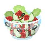 Heerlijke plantaardige salade Vegetarisch voedsel enig pictogram in van de het symboolvoorraad van de beeldverhaalstijl vector de Royalty-vrije Stock Fotografie