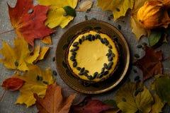 Heerlijke pompoencake met bladeren op achtergrond Stock Afbeeldingen