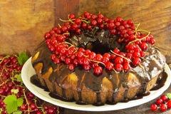 Heerlijke ringscake met chocolade en rode aalbessen Royalty-vrije Stock Fotografie