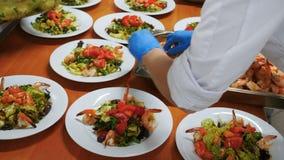 Heerlijke salade met ansjovis tapenade Garnaal en friseesla stock videobeelden