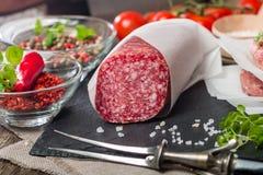 Heerlijke salami Stock Foto