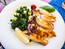Heerlijke schotel van Mediterraan overzees voedsel met geroosterde inktvissen stock foto's