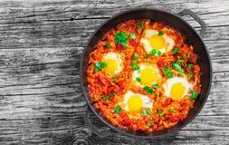 Heerlijke shakshuka - gebraden eieren, ui, groene paprika's, tomaten Royalty-vrije Stock Fotografie