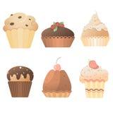 Heerlijke snoepjes: een reeks kaarten met muffins Stock Afbeeldingen