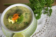 Heerlijke soepen Heerlijke soepen, Eigengemaakte, uitstekende klassieke gastronomie royalty-vrije stock afbeeldingen