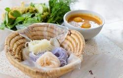 Heerlijke Thaise food.KaNom jeen Noedels Royalty-vrije Stock Foto's