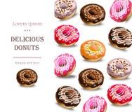 Heerlijke van de het menupagina van het donutsdessert de lay-outvector Stock Afbeelding