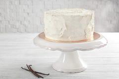 Heerlijke vanillecake met slagroom Stock Foto's