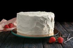 Heerlijke vanillecake met slagroom Royalty-vrije Stock Fotografie