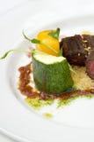 Heerlijke vlees en groenten, courgette, klok pepp Stock Afbeelding