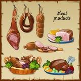 Heerlijke worsten, hammen en en ander vlees Royalty-vrije Stock Foto
