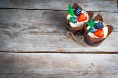 Heerlijke, zoete die cupcakes met room, chocoladeroom, kaneel, cacao wordt verfraaid verfraaid met vers, natuurlijk, organisch fr Stock Afbeelding