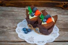 Heerlijke, zoete die cupcakes met room, chocoladeroom, kaneel, cacao wordt verfraaid verfraaid met vers, natuurlijk, organisch fr royalty-vrije stock afbeeldingen