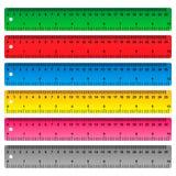 Heerser in centimeters, millimeter en duim vector illustratie