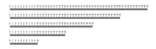 Heerser 10, 20, 30, 40, 50 cm Het meten van hulpmiddel Heersersgraduatie Heersersnet cm De eenheden van de grootteindicator Metri royalty-vrije stock foto's