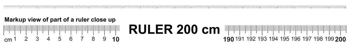 Heerser 200 cm Nauwkeurig metend hulpmiddel Heersersschaal 2,0 meter Heersersnet 2000 mm royalty-vrije illustratie