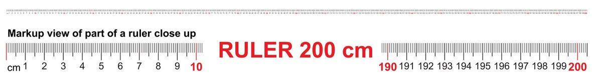 Heerser 200 cm Nauwkeurig metend hulpmiddel Heersersschaal 2,0 meter Heersersnet 2000 mm vector illustratie