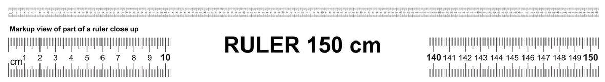 Heerser 150 cm Nauwkeurig metend hulpmiddel Heersersschaal 1,5 meter Heersersnet 1500 mm De metrische indicatoren van de Centimet stock illustratie