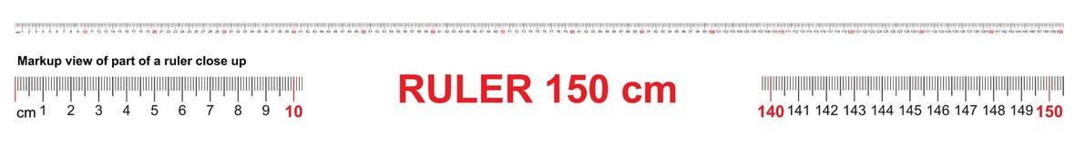 Heerser 150 cm Nauwkeurig metend hulpmiddel Heersersschaal 1,5 meter Heersersnet 1500 mm De metrische indicatoren van de Centimet vector illustratie