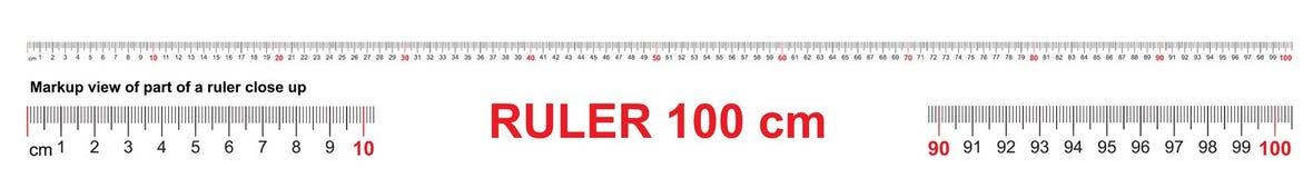 Heerser 100 cm Nauwkeurig metend hulpmiddel Heersersschaal 1 meter Heersersnet 1000 mm De metrische indicatoren van de Centimeter royalty-vrije illustratie