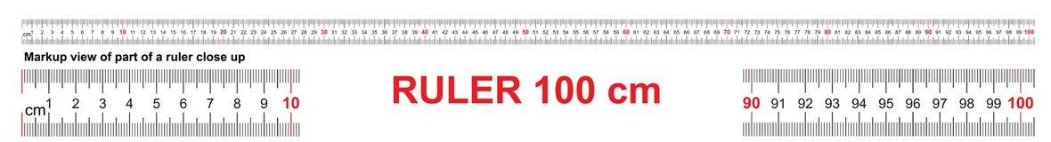 Heerser 100 cm Nauwkeurig metend hulpmiddel Heersersschaal 1 meter Heersersnet 1000 mm De metrische indicatoren van de Centimeter stock illustratie