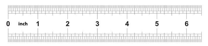 Heerser 6 duim keizer De afdelingsprijs is 1/32 duim Tweezijdige heerser Nauwkeurig metend hulpmiddel Kaliberbepalingsnet stock illustratie
