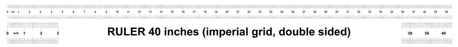 Heerser 40 duim keizer De afdelingsprijs is 1/32 duim Tweezijdige heerser Nauwkeurig metend hulpmiddel Kaliberbepalingsnet stock illustratie