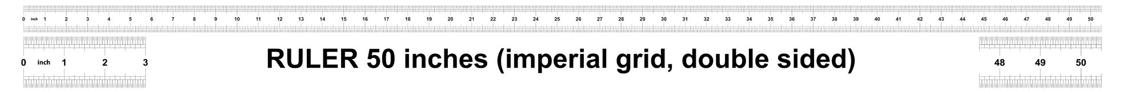 Heerser 50 duim keizer De afdelingsprijs is 1/32 duim Tweezijdige heerser Nauwkeurig metend hulpmiddel Kaliberbepalingsnet vector illustratie