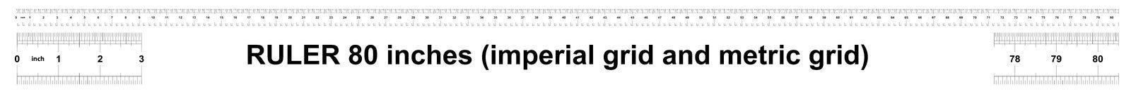 Heerser 80 duim keizer Metrische heerser 160 duim Nauwkeurig metend hulpmiddel Kaliberbepalingsnet vector illustratie