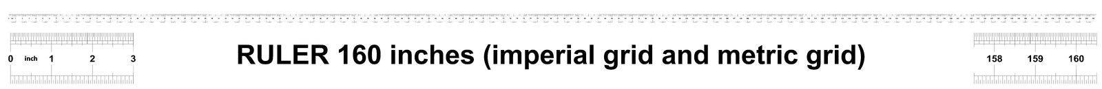 Heerser 160 duim keizer Metrische heerser 160 duim Nauwkeurig metend hulpmiddel Kaliberbepalingsnet stock illustratie