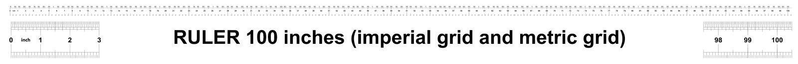 Heerser 100 duim keizer Metrische heerser 160 duim Nauwkeurig metend hulpmiddel Kaliberbepalingsnet royalty-vrije illustratie