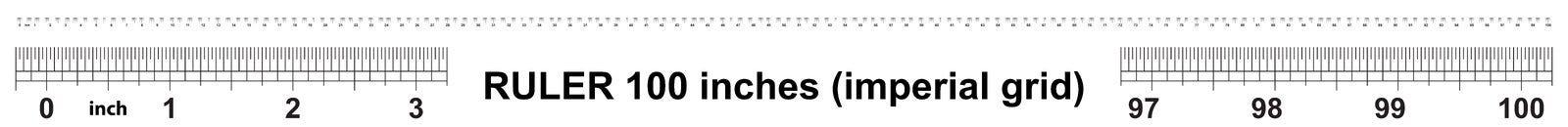 Heerser 100 duim keizer Nauwkeurig metend hulpmiddel Kaliberbepalingsnet stock illustratie