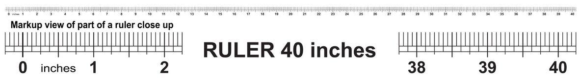 Heerser 40 duim Nauwkeurig metend hulpmiddel Van grootteduim indicatoren stock illustratie