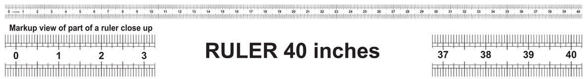 Heerser 40 duim Nauwkeurig metend hulpmiddel Van grootteduim indicatoren vector illustratie