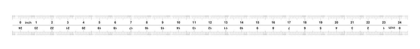 Heersers tweerichtings 24 duim Metrisch kaliberbepalingsnet De afdelingsprijs is 0 05 duim Nauwkeurig metend hulpmiddel vector illustratie