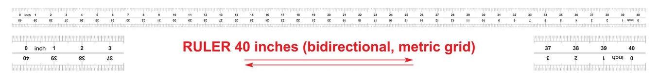 Heersers tweerichtings 40 duim Metrisch kaliberbepalingsnet De afdelingsprijs is 0 05 duim Nauwkeurig metend hulpmiddel stock illustratie