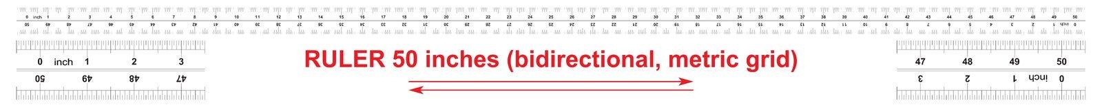 Heersers tweerichtings 50 duim Metrisch kaliberbepalingsnet De afdelingsprijs is 0 05 duim Nauwkeurig metend hulpmiddel vector illustratie