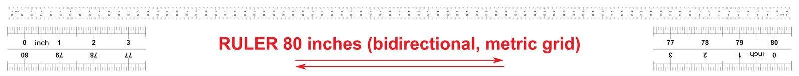 Heersers tweerichtings 80 duim Metrisch kaliberbepalingsnet De afdelingsprijs is 0 05 duim Nauwkeurig metend hulpmiddel stock illustratie