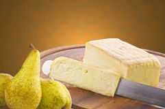 Heese sliced with pear Royalty Free Stock Photography