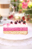 Сheesecake with black currant. Delicious cheesecake with black currant Stock Image