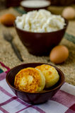 Сheesecakes. Cheesecakes of cottage cheese on a plaid towel Royalty Free Stock Image