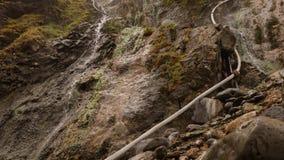 Heet bronwater dat neer op rotsen stroomt stock videobeelden