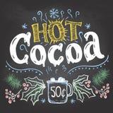 Heet cacaoteken op bordachtergrond Royalty-vrije Stock Foto's