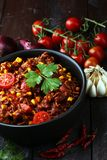 Heet chili con carne Mexicaans smakelijk en kruidig voedsel royalty-vrije stock afbeeldingen