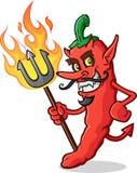 Heet Chili Pepper Devil Cartoon Character Stock Foto's