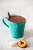 Heet chocolade en koekje stock afbeeldingen