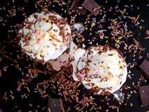 Heet de vlotterdessert van het chocoladeroomijs in een grote kop Stock Fotografie