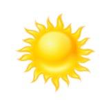 Heet geel geïsoleerd zonpictogram Royalty-vrije Stock Fotografie