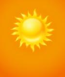 Heet geel zonpictogram Royalty-vrije Stock Afbeelding