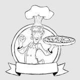 ?hef met pizza in de vorm van teken. Dra uit de vrije hand Stock Afbeelding